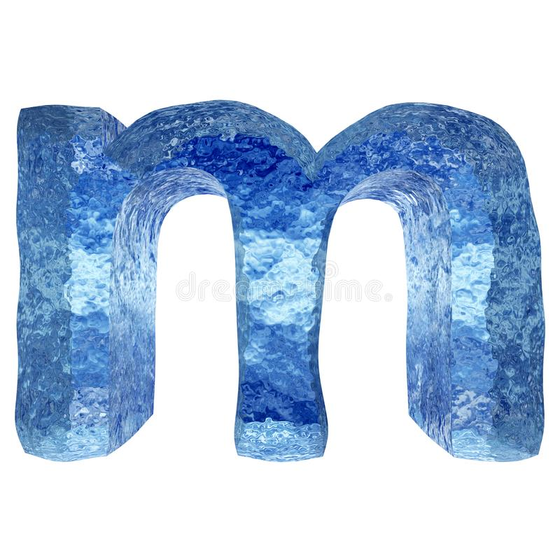 3D blue water or ice font stock illustration