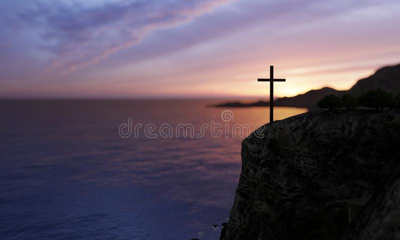 Religious christian cross standing on rock in the sea. Concept or conceptual religious christian cross standing on rock in the sea or ocean over beautiful sunset stock images