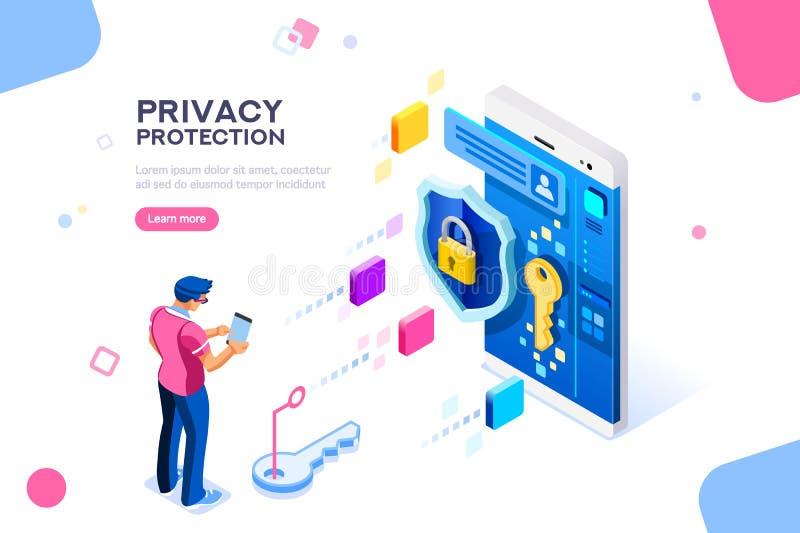 Concept confidentiel de bannière de protection des données illustration de vecteur