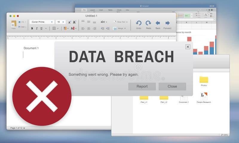 Concept confidentiel de cybercriminalité de sécurité d'infraction de données illustration de vecteur