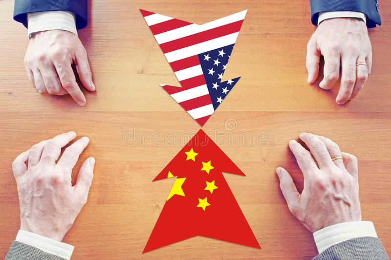 Concept of confrontation between China and United States stock images