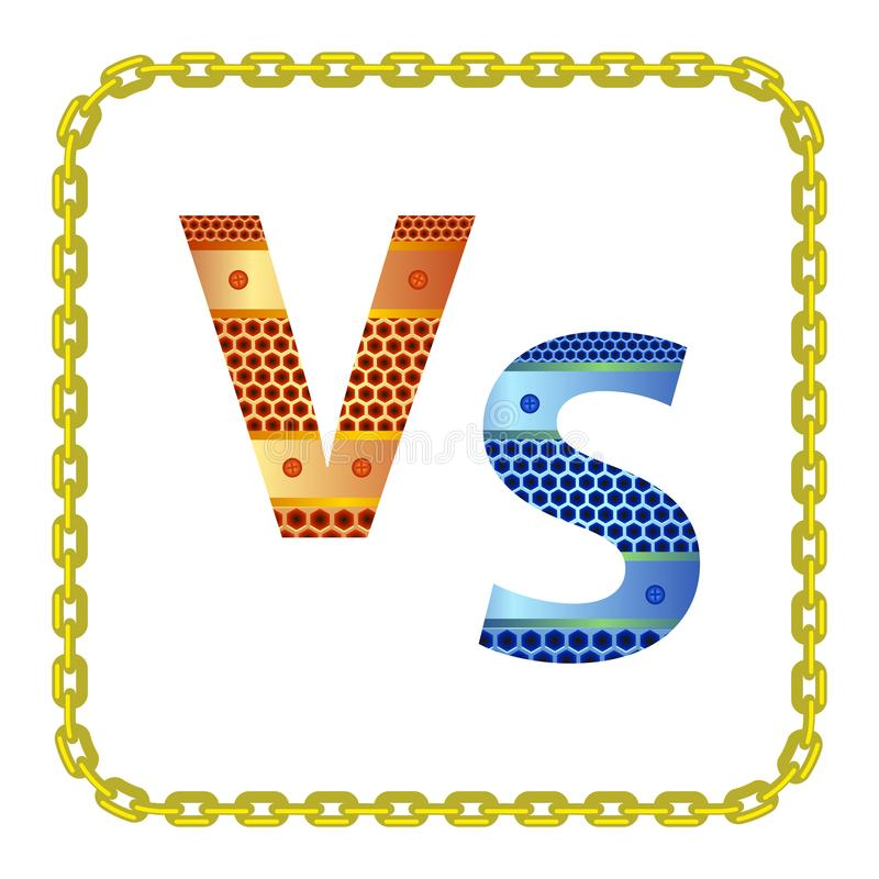 Concept of Confrontation, Final Fighting. Versus VS Letters Fight Background with Gold Chain Frame vector illustration