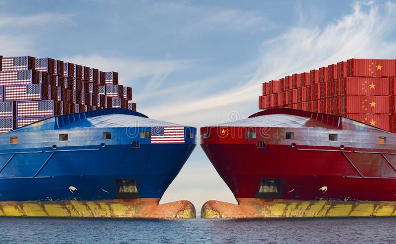 concept of confrontation on sea routes between the United States and China stock photos