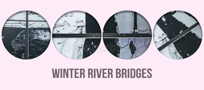 Concept congelé par hiver aérien f des textes de collage de texture de rivière photos stock