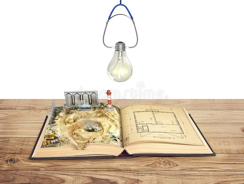 The concept of construction. Open book with a construction site and a drawing royalty free illustration