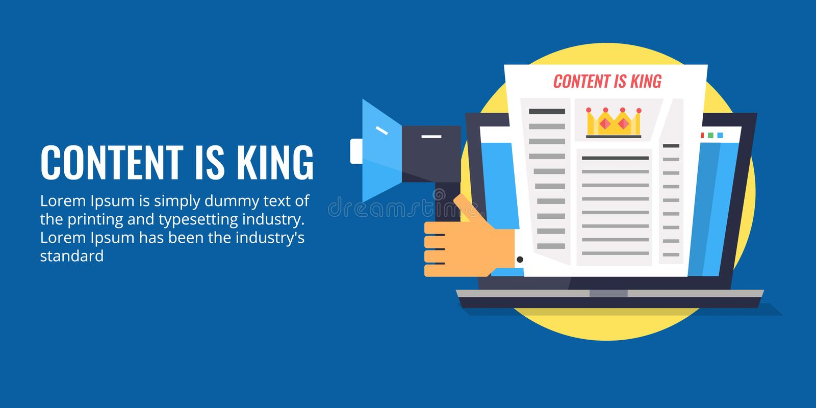 Illustration of content is king concept. Flat design vector banner. vector illustration