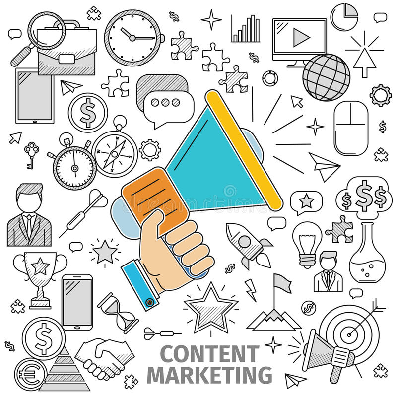 Concept Content Marketing vector illustration