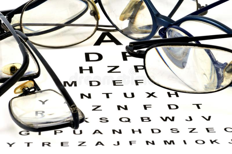 Glasses posed on a visual test. Concept of control of the sight with glasses posed on a visual test stock photography