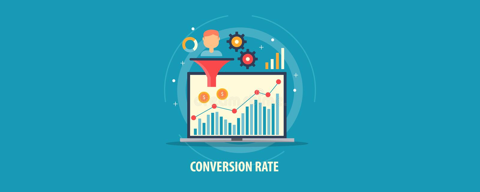 Digital marketing analysis - customer conversion - sales funnel - conversion rate optimization concept. Flat design vector banner. royalty free illustration