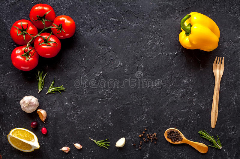 Concept cook work on dark background top view mock up.  royalty free stock images