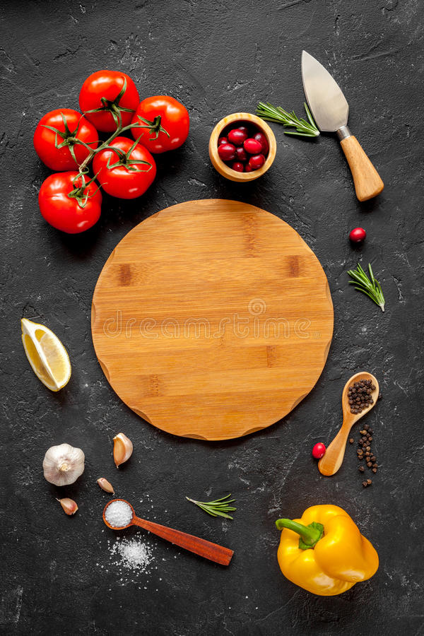 Concept cook work on dark background top view mock up.  royalty free stock photography