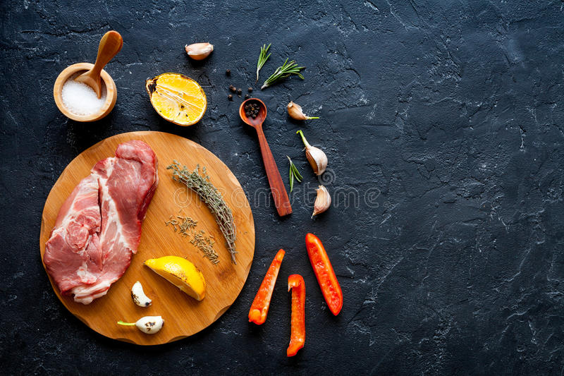 Concept cooking steak on dark background top view mock up.  stock photos