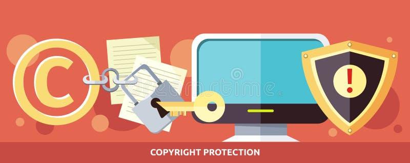 Concept Copyright-Bescherming in Internet royalty-vrije illustratie