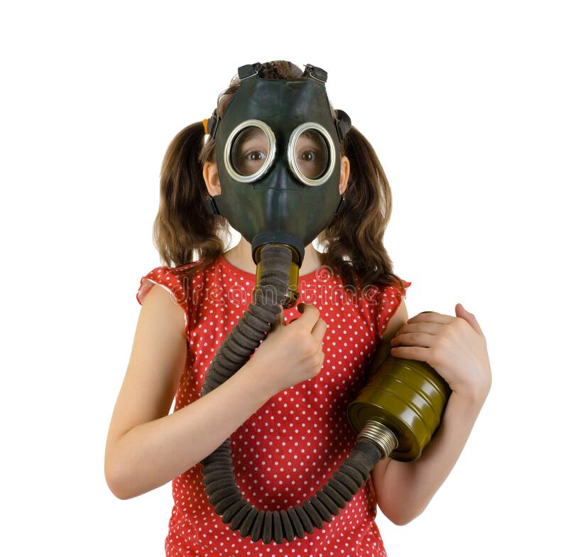 Little girl in gas mask on white background royalty free stock images