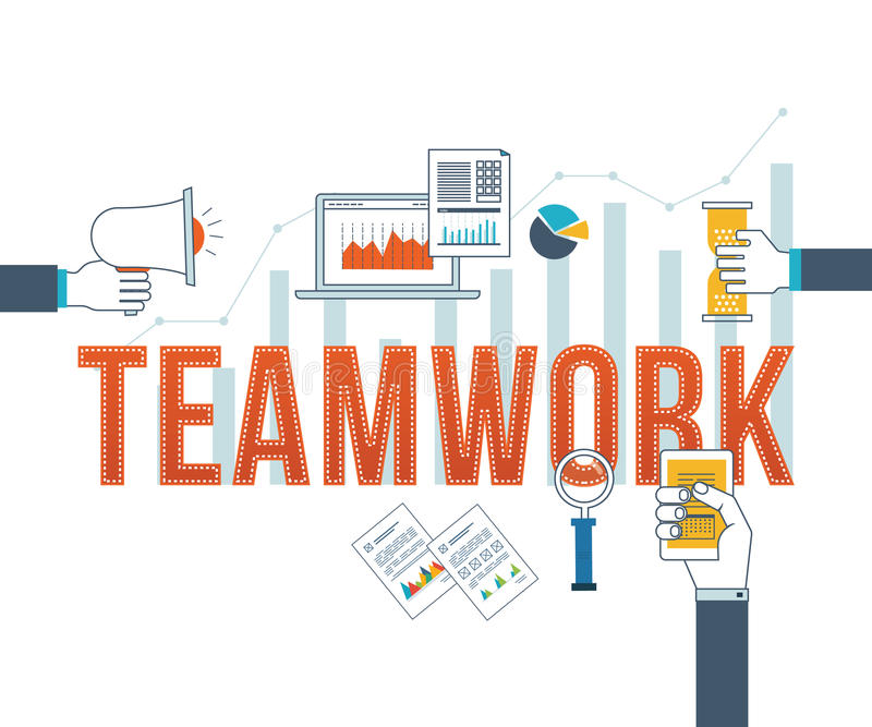 Concept for corporate business, teamwork, management, strategy planning and investment. royalty free illustration
