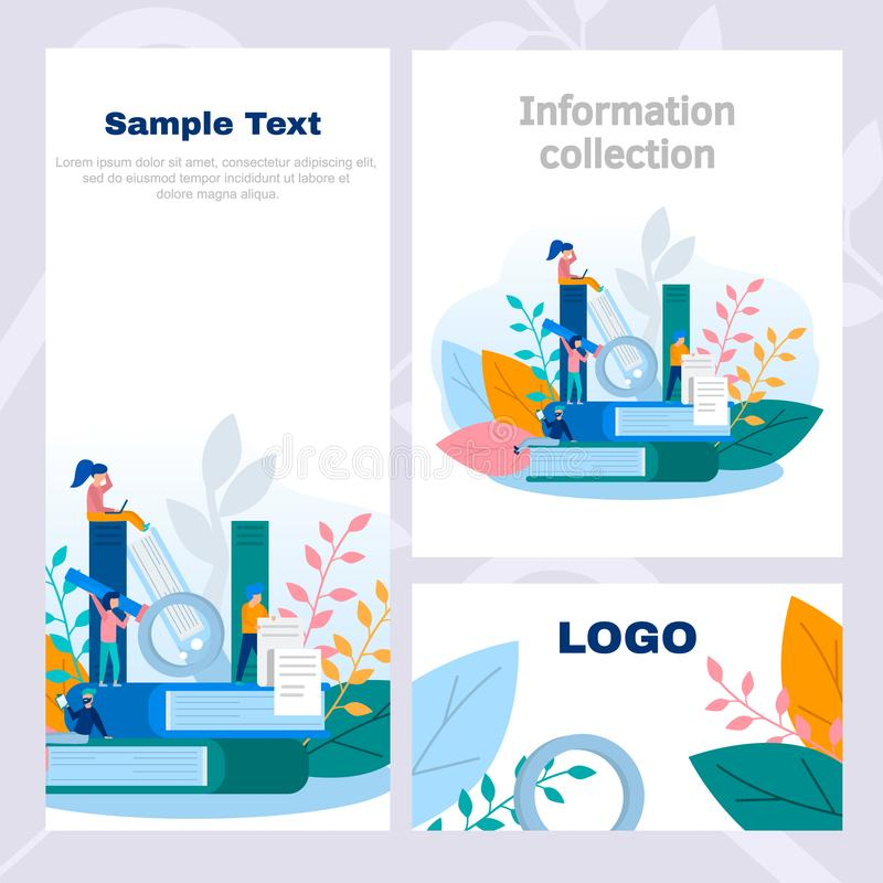 Concept corporate style flyer in knowledge and information collection, online training, Internet studying, online book, tutorials, vector illustration