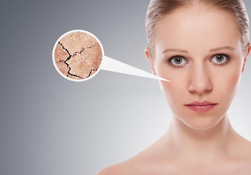 Concept of cosmetic effects, treatment, skin care royalty free stock photos
