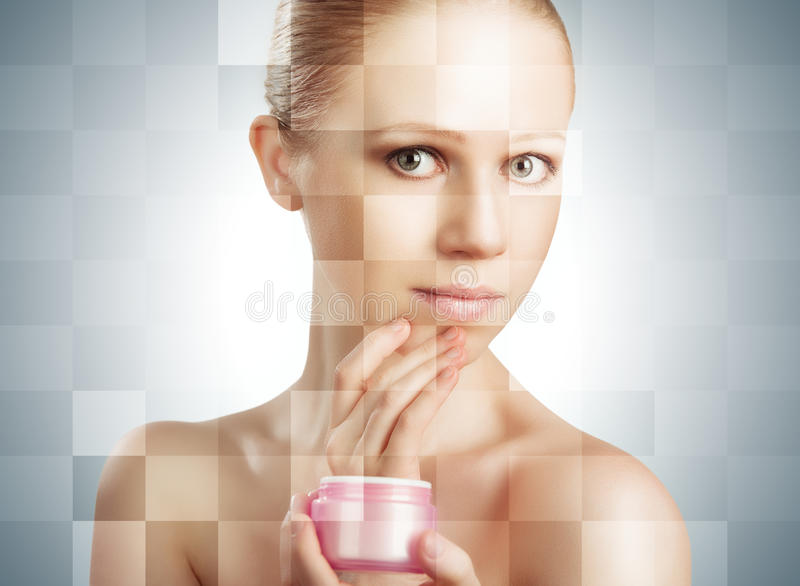 Concept of cosmetic effects, treatment and skin care. face of y royalty free stock image