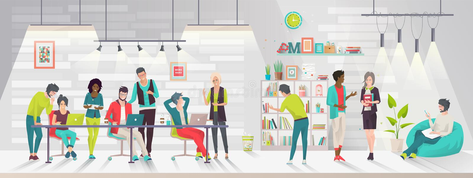 Concept of the coworking center. stock illustration