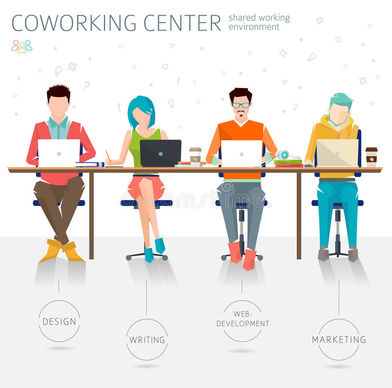 Concept of the coworking center. Shared working environment. Various people talking and working at the computers in the open space office. Different royalty free illustration