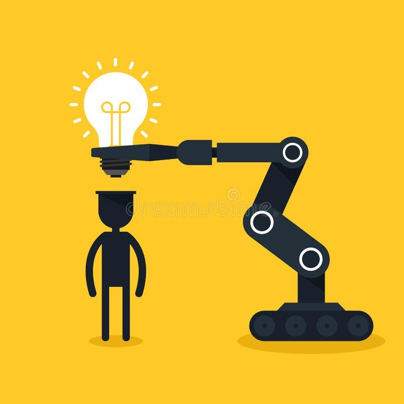 Concept créateur d'idée Le robot a mis l'ampoule dans l'esprit humain illustration de vecteur