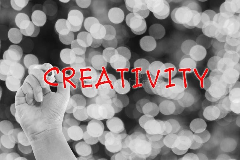 Concept créatif avec la créativité d'écriture de main image stock