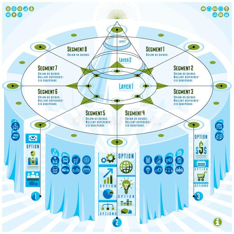 Concept créatif d'éléments d'infographics, table 3d avec le PY posé illustration de vecteur