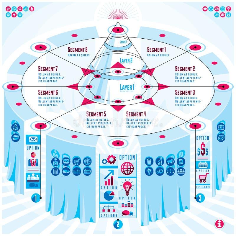 Concept créatif d'éléments d'infographics, table 3d avec le PY posé illustration stock