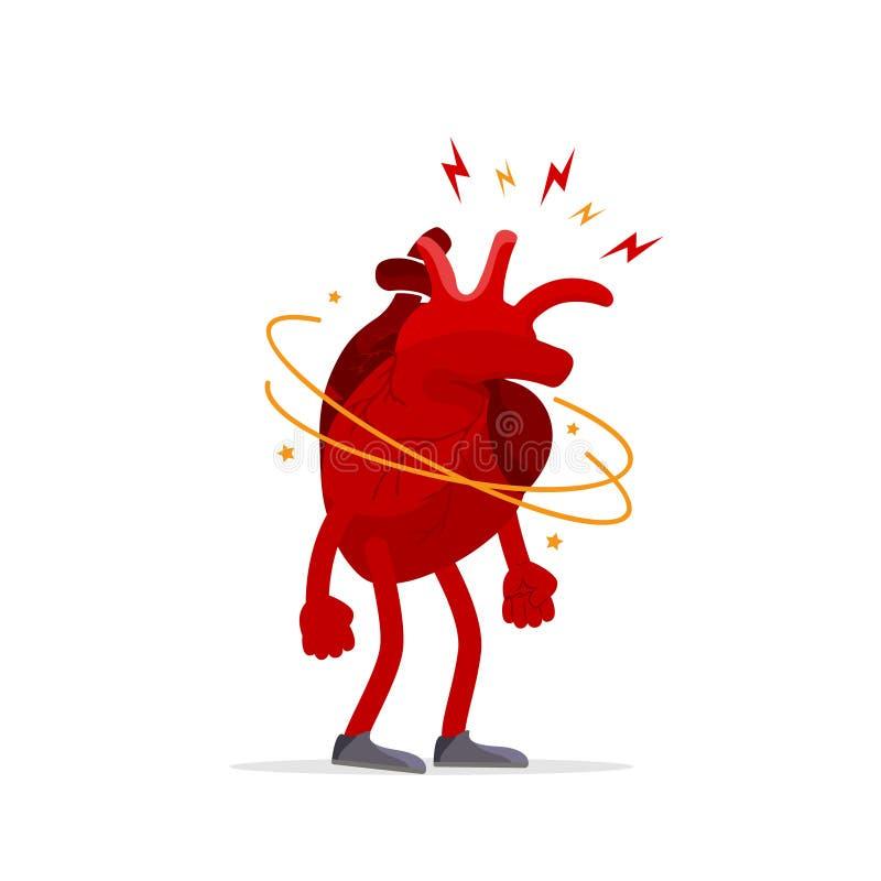 Concept créatif d'effort et de dépression Organe humain de coeur avec un mal de tête, problèmes de santé, tête de douleur, fatigu illustration libre de droits