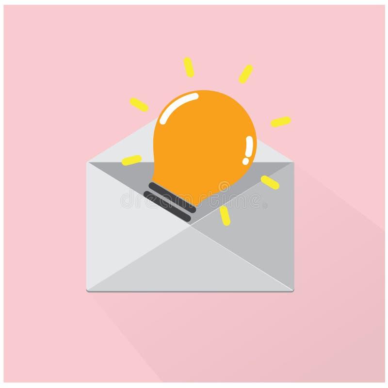 Concept créatif d'idée d'ampoule avec l'enveloppe gris de lettre sur b illustration de vecteur
