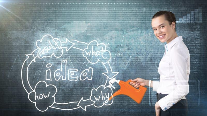 Concept créatif d'idées, belle femme d'affaires se tenant sur l'organigramme de arrosage peint d'idée de fond images stock
