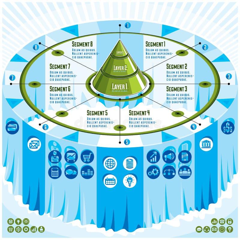 Concept créatif d'infographics, table 3d avec la pyramide posée ide illustration stock
