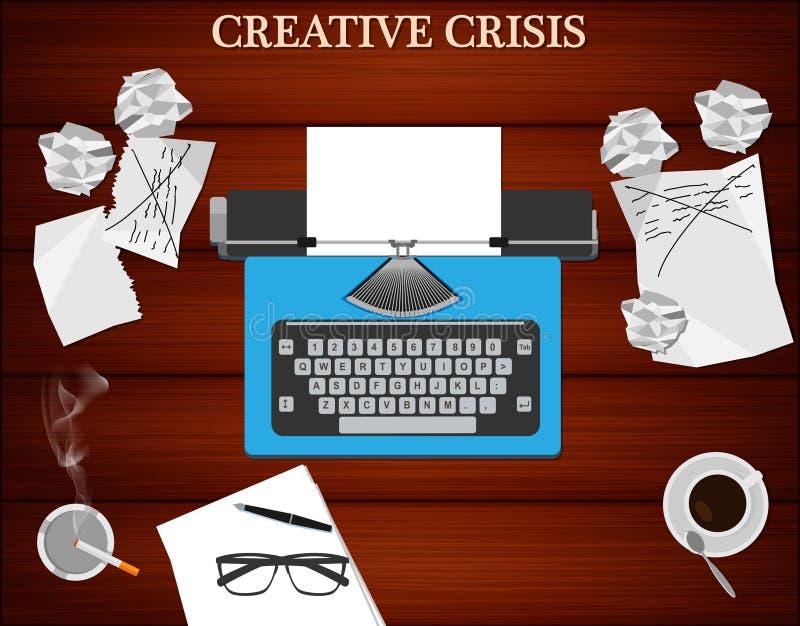 Concept créatif de crise Vue supérieure de lieu de travail du ` s d'auteur illustration libre de droits