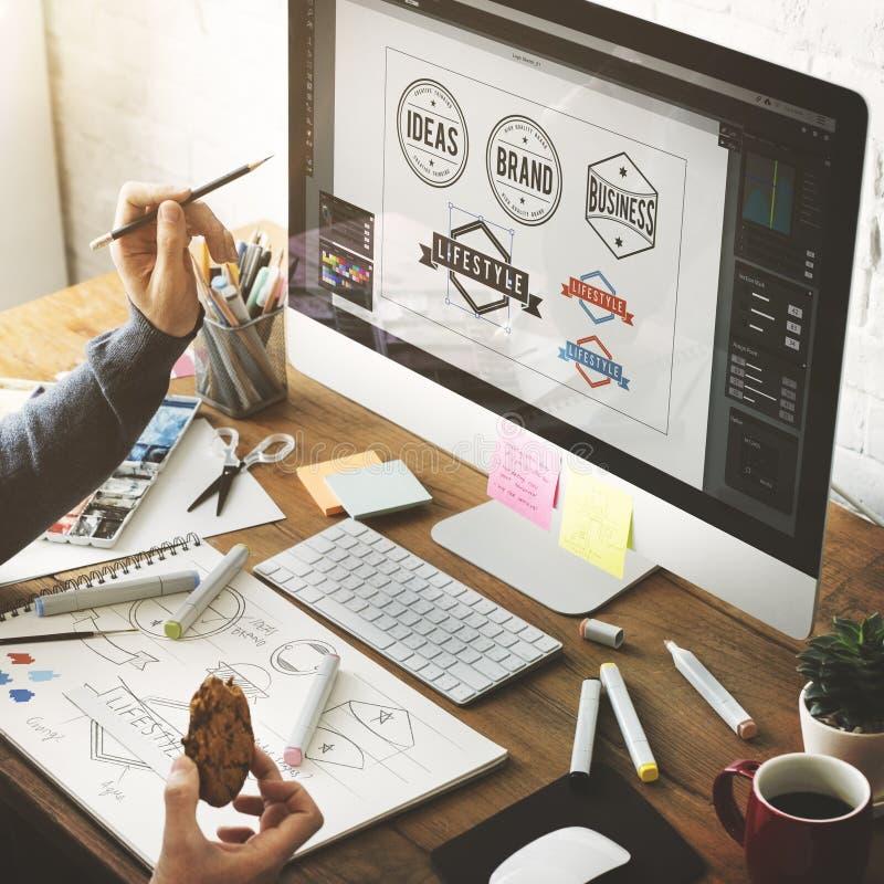 Concept créatif de démarrage de dessin de studio de conception de profession d'idées image libre de droits