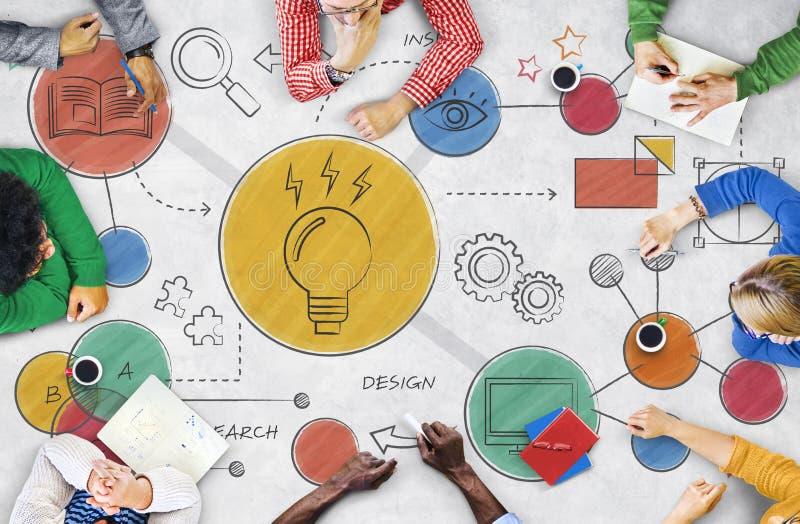 Concept créatif de diagramme d'idées d'ampoule image stock