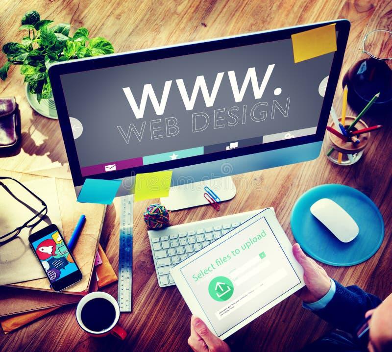 Concept créatif de media d'Internet de développement de WWW de Web de web design images libres de droits