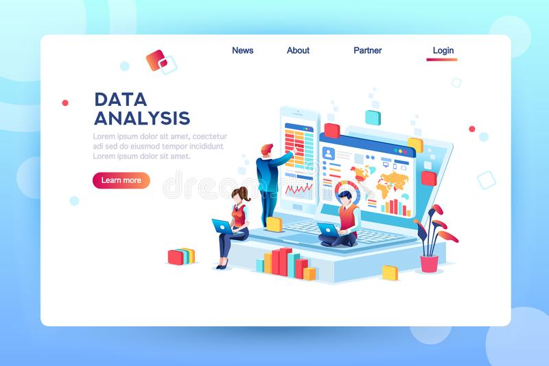 Concept créatif de moteur d'analyse de données illustration libre de droits