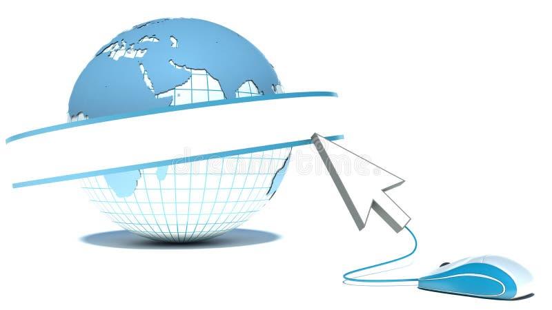 Concept créatif de réseau d'Internet, de WWW et de télécommunication mondiale illustration stock