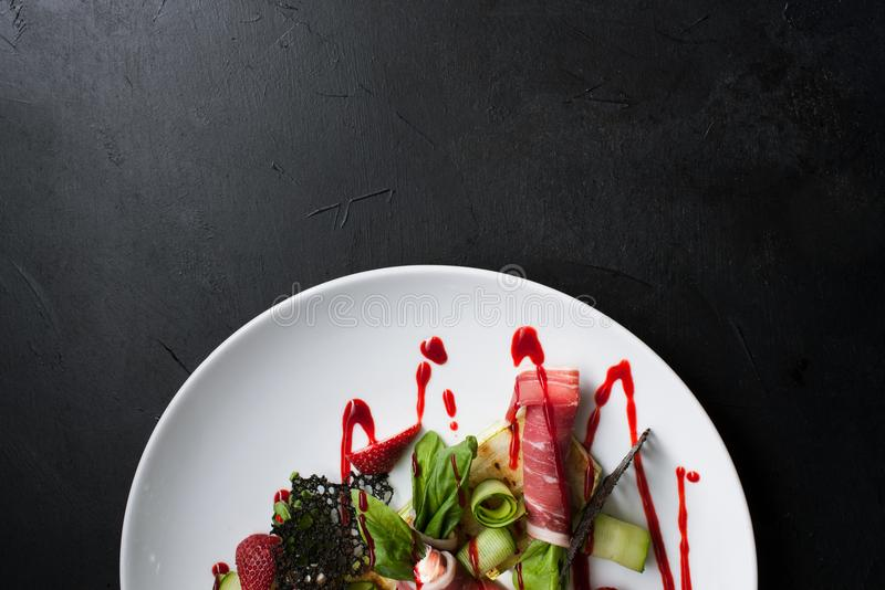 Concept créatif de repas de restaurant de photographie de nourriture images libres de droits
