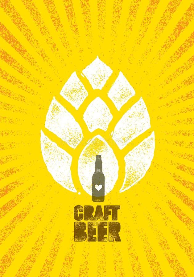 Concept créatif de signe de timbre de vecteur d'artisan de brasserie de bière de métier Bannière faite main rugueuse d'alcool Élé illustration stock