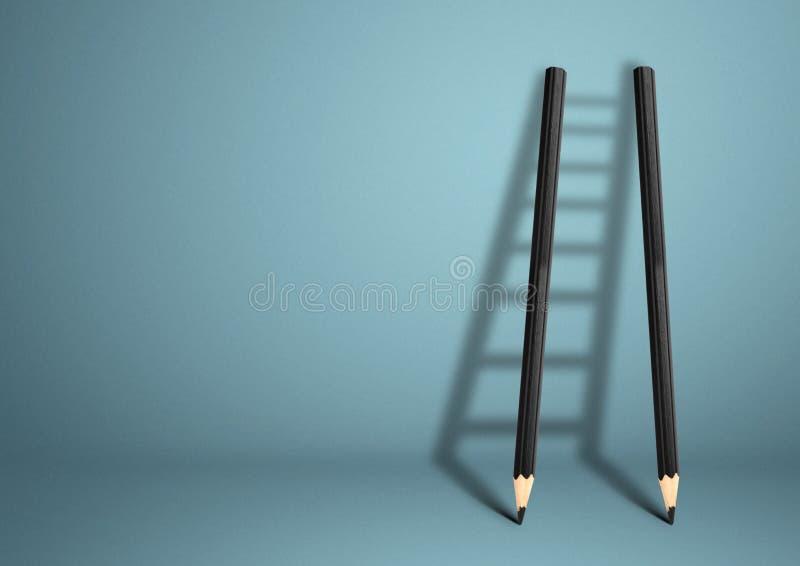 Concept créatif de succès, échelle de crayon avec l'espace de copie images stock