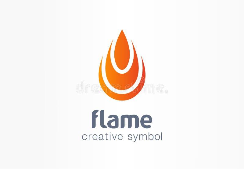 Concept créatif de symbole de flamme Énergie du feu dans le logo abstrait d'affaires de forme de baisse La puissance inflammable  illustration de vecteur