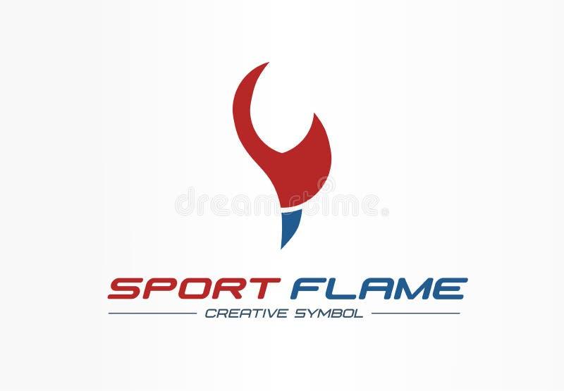 Concept créatif de symbole de flamme de sport Le feu de récompense d'énergie dans le logo abstrait de forme physique d'affaires d illustration stock