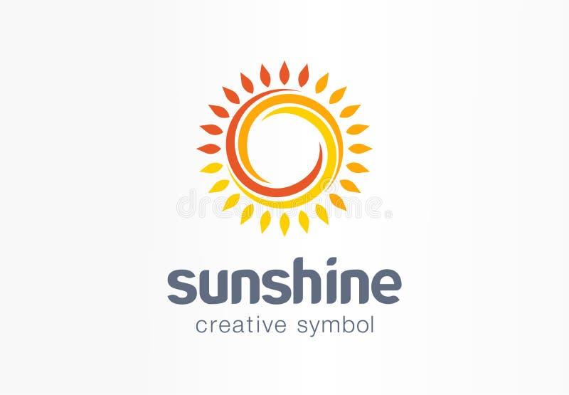 Concept créatif de symbole de soleil Lumière du soleil, solarium, crème de sunblock, logo d'affaires d'abrégé sur écran de protec illustration stock