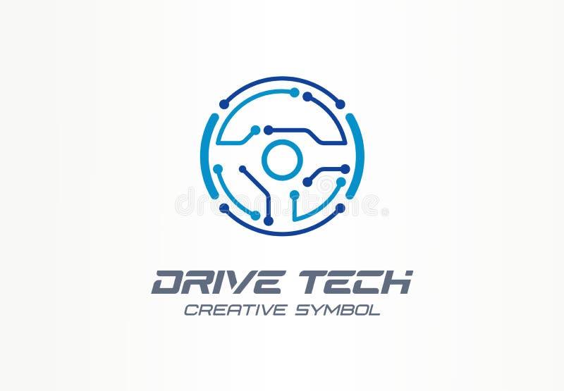 Concept créatif de symbole de technologie d'entraînement Voiture autonome, logo abstrait d'affaires de technologie automatique fu illustration stock