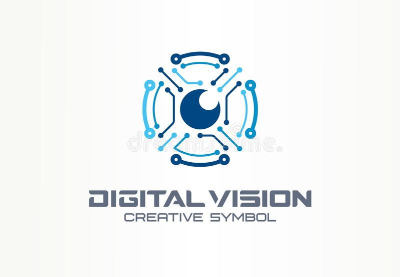 Concept créatif de symbole de vision de Digital Oeil de robot de circuit, logo d'affaires d'abrégé sur système de vr Moniteur de  illustration stock