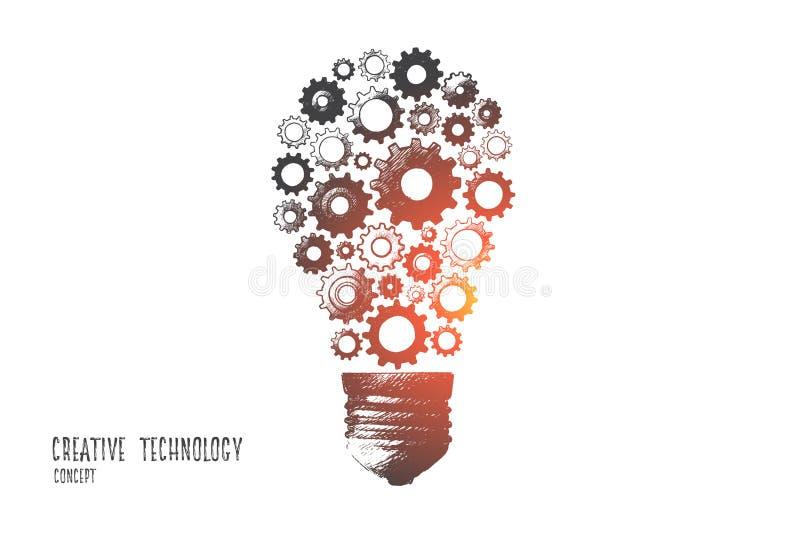 Concept créatif de technologie Vecteur tiré par la main illustration de vecteur