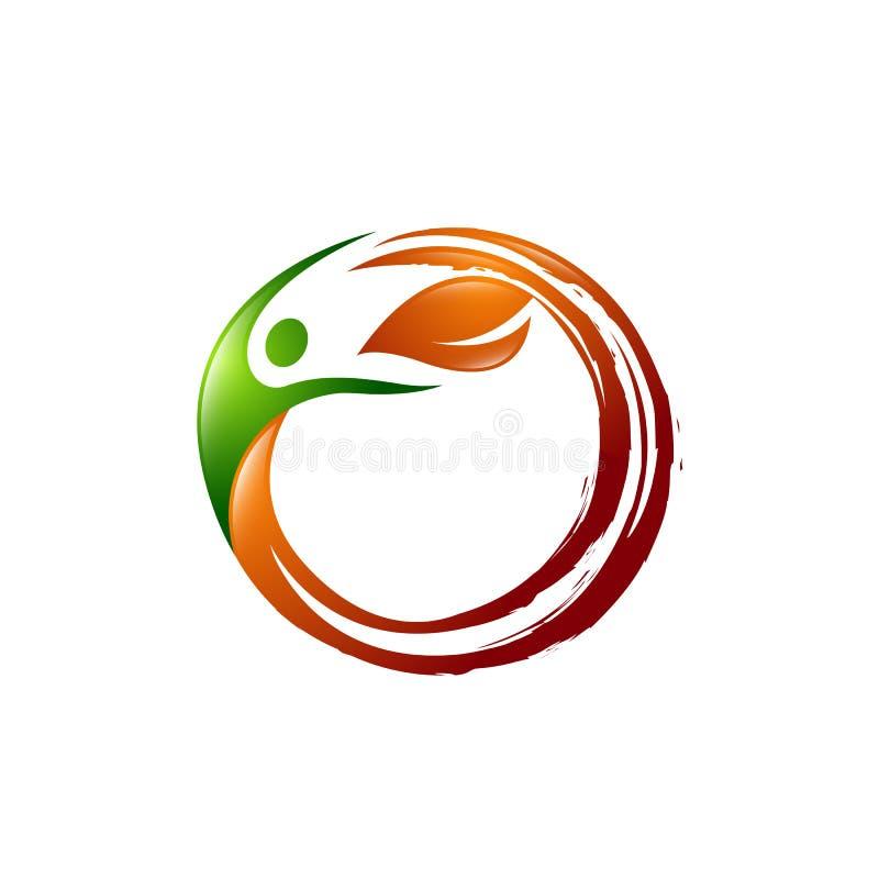 Concept créatif Logo Design Template de feuille, personnes de cartel et icône de feuille pour des soins de santé Logo Design illustration libre de droits