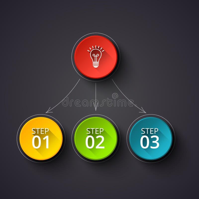 Concept créatif pour infographic foncé Visualisation de données commerciales Éléments abstraits de cercle du graphique, diagramme illustration de vecteur