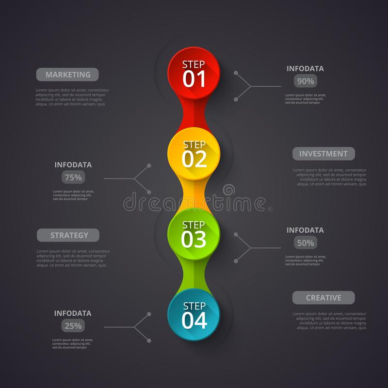 Concept créatif pour infographic foncé Visualisation de données commerciales Éléments abstraits de cercle du graphique, diagramme illustration libre de droits